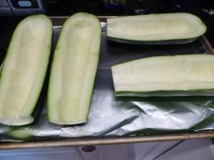 zucchini on baking sheet