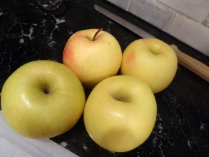sourdough bread and golden delicious apples