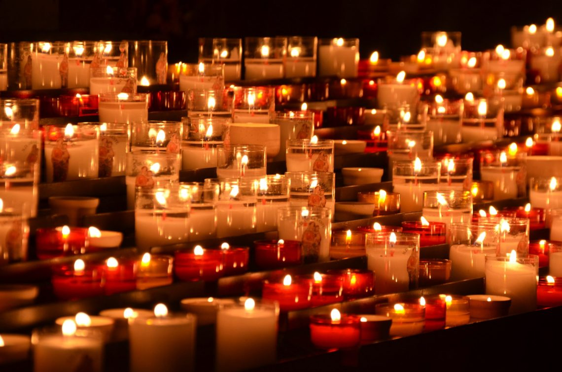 lit chapel candles