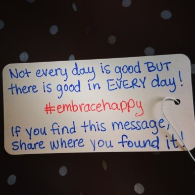 My first #embracehappy message was left on the Eurostar train