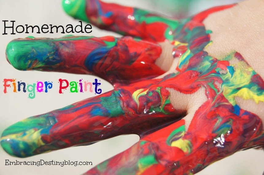 Simple DIY finger paint recipe to make in minutes to beat the winter blues! Great for sensory play. embracingdestinyblog.com