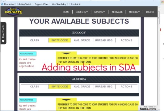 Adding subjects screen in SDA ~ review @destinyblogger
