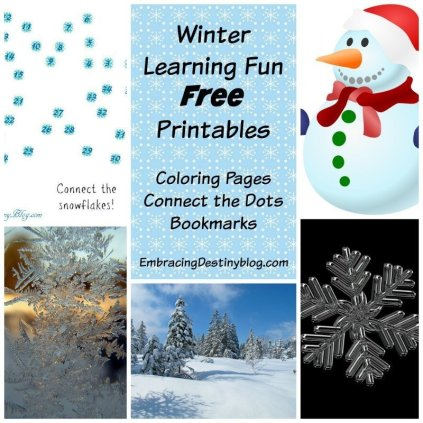 Free Winter Printables: coloring pages, connect the dots, bookmarks at embracingdestinyblog.com