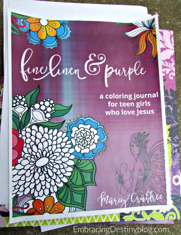 fine linen and purple: a coloring journal for teen girls who love Jesus