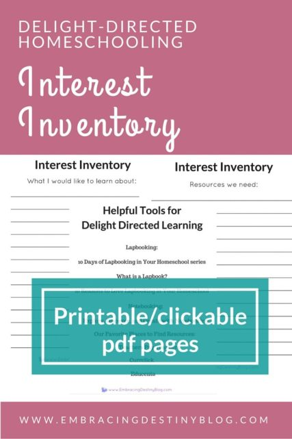 Interest Inventory printables for Delight Directed Homeschooling