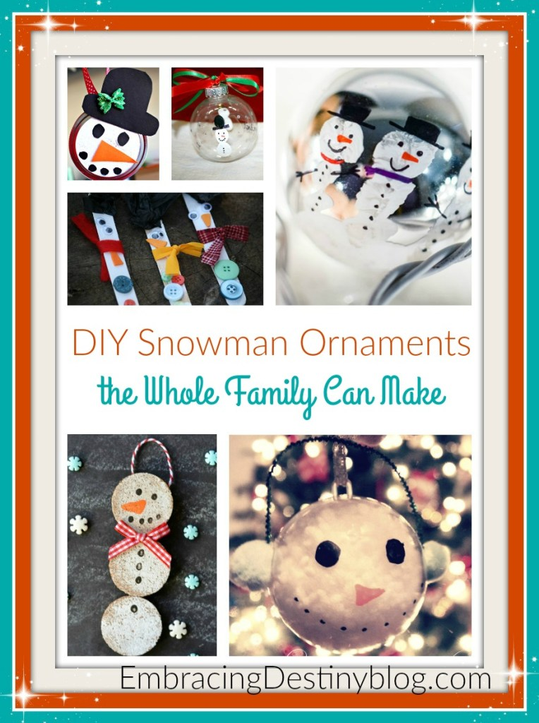 These DIY Snowman ornaments are adorable! The whole family can have fun making them together. From simple to more artsy, there is something to inspire creativity in everyone. embracingdestinyblog.com