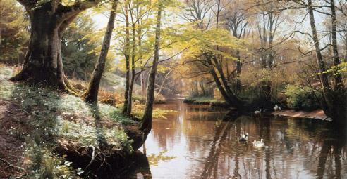 A River Landscape in Springtime
