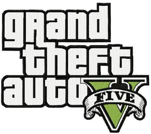 Grand Theft Auto five logo machine embroidery design