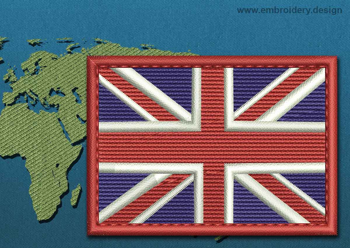 United Kingdom Rectangle Flag Embroidery Design With A
