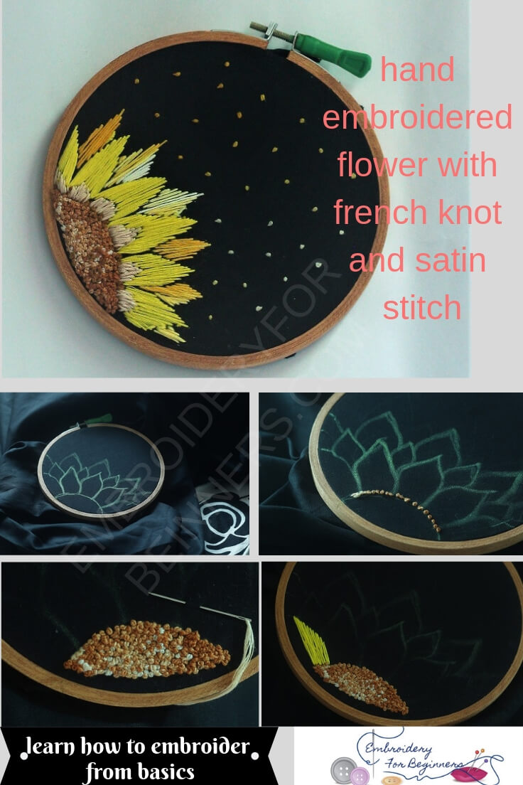 how to make a flower with french knots and satin stitch