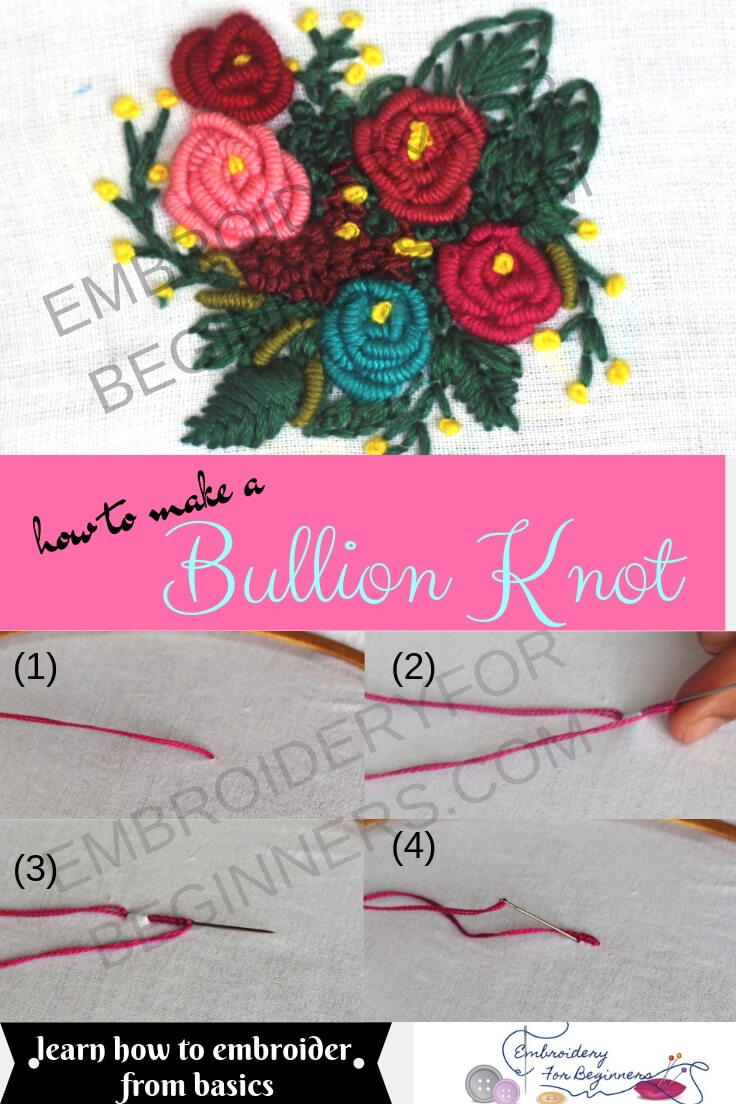 how to make bullion knot with step by step pictures