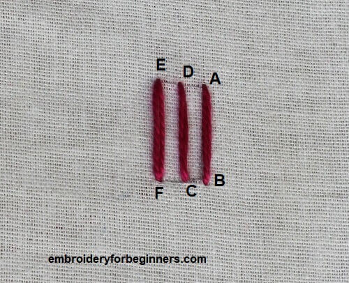 three straight line for the trellis stitch