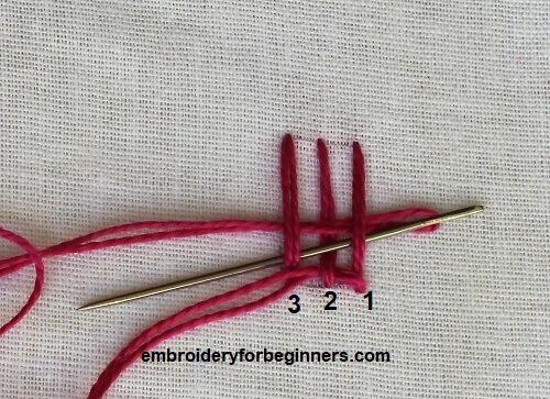 weaving needle through stitches