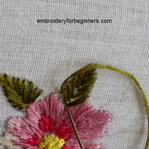 completing the fishbone stitch
