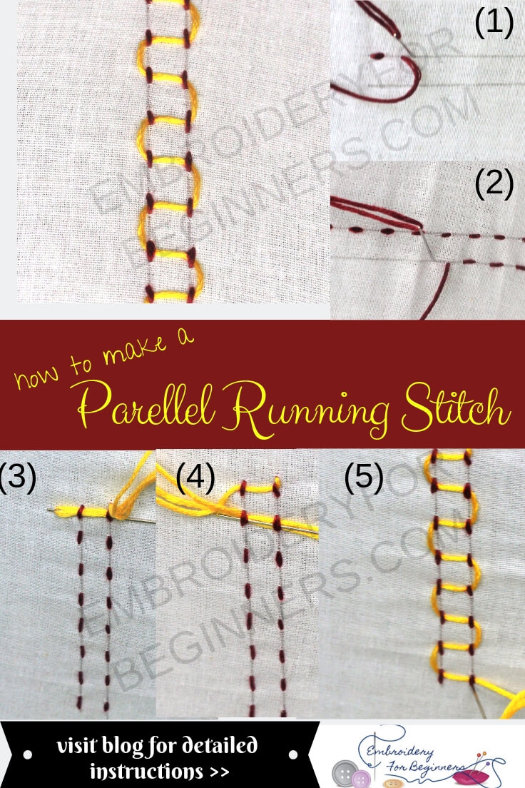 learn how to make a parallel running stitch with step by step pictures