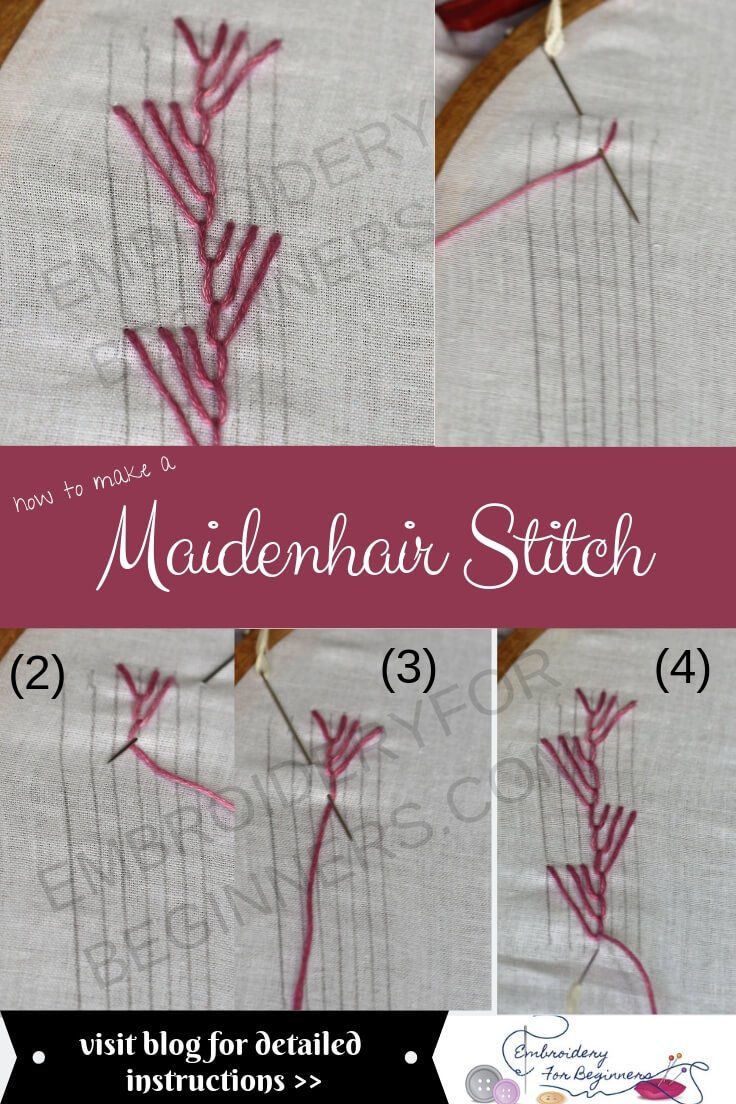 learn how to work a maidenhair stitch with a step by step pictorial
