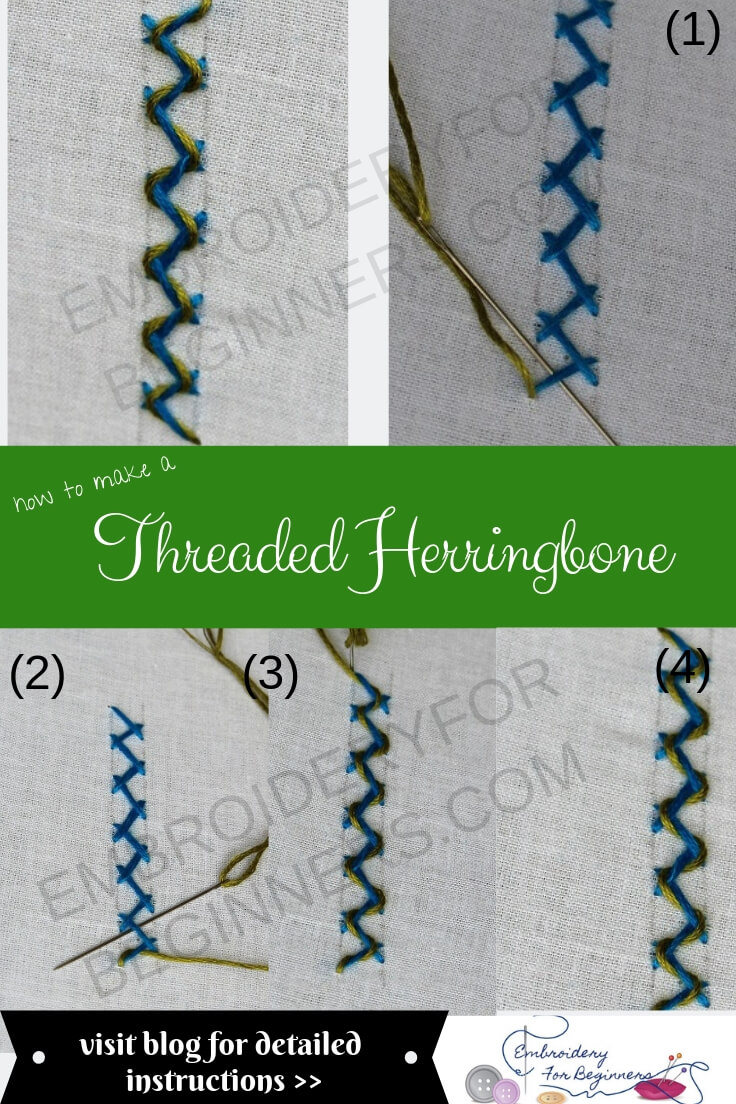 learn how to work a threaded herringbone with step by step pictures