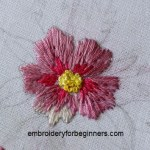 long & short stitch, french knot flower