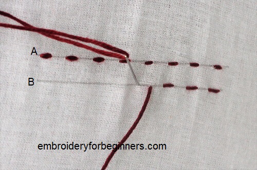 starting second row for parallel stitch