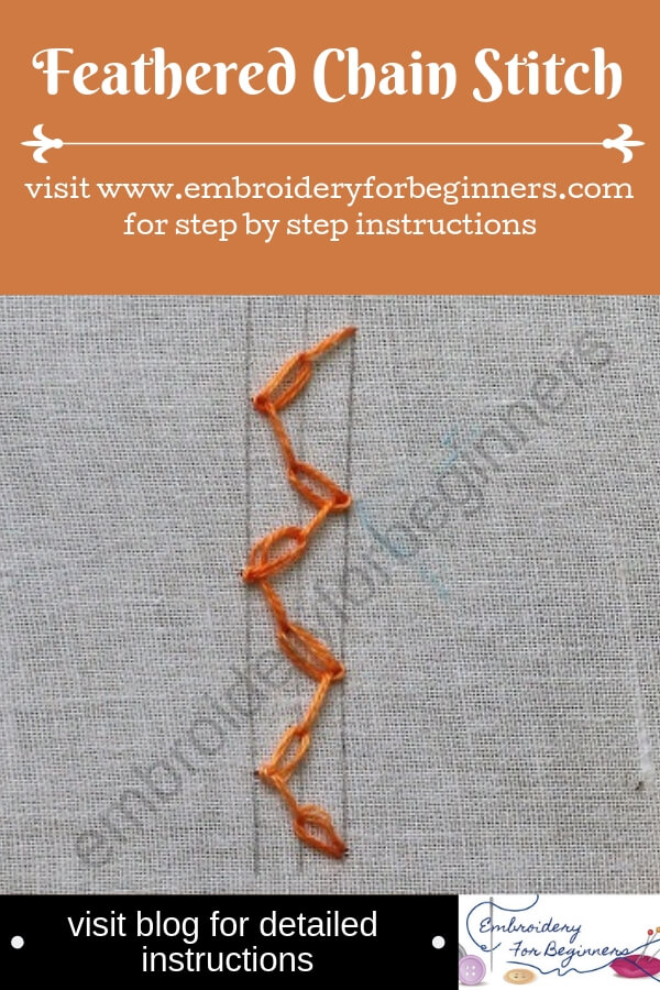 visit blog for detailed instructions for working feather chain stitch