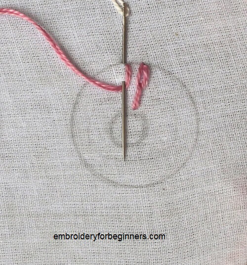 working on long tailed chain stitch