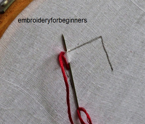 2. working on the first layer of stitches