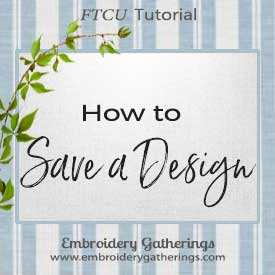 how to save a design in floriani FTCU