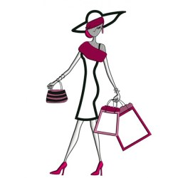 Classy Lady With Shopping Bags Applique Machine Embroidery Digitized Design Pattern