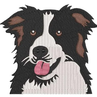 Border Collie dog embroidery design
