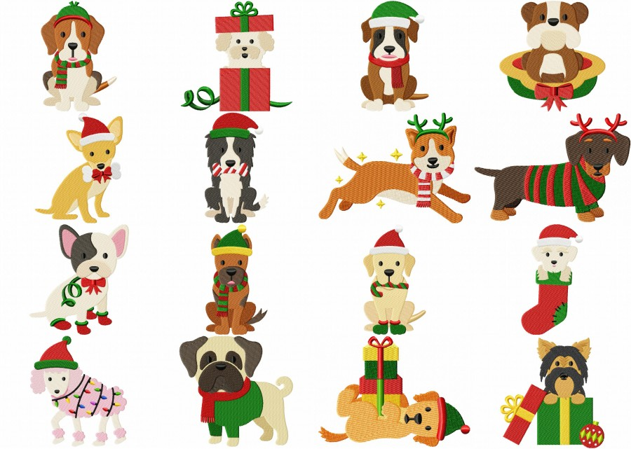 Christmas Dog Breed Pack 16 Embroidery Designs 299 Woof