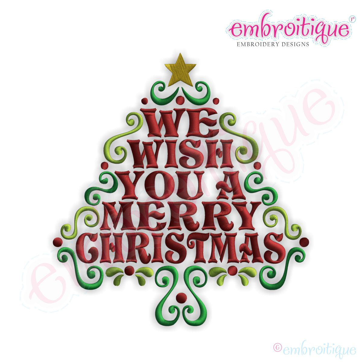 Embroitique We Wish You A Merry Christmas Word Tree Embroidery Design Large