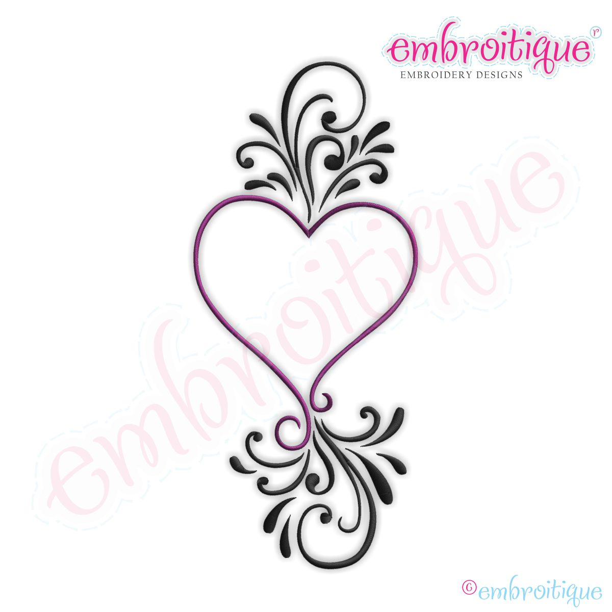 Embroitique Fanciful Flourished Heart Embroidery Design  Small