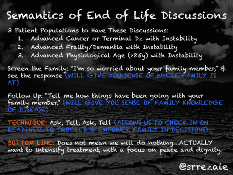 semantics of end of life discussions