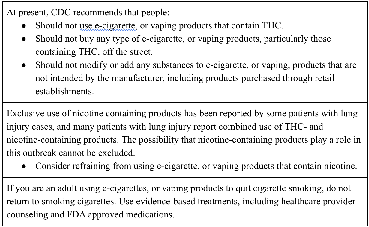 Table 2 - CDC Recommendations to the Public - adapted from [https://www.cdc.gov/tobacco/basic_information/e-cigarettes/severe-lung-disease/need-to-know/index.html]