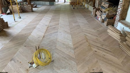 white oak chevron floor in Watermill
