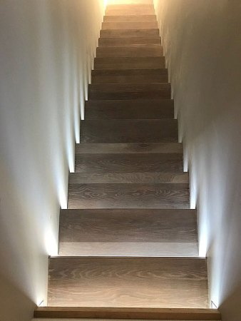 Sag Harbor hardwood flooring installation floating set of stairs