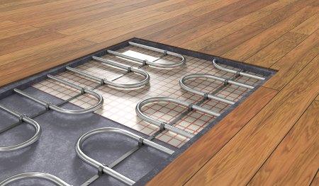 cross section of radiant floor heating