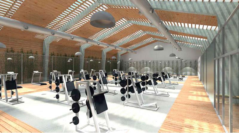Gimnasio en Lugo, sala fitness - Colaboración con Jordi Marcé Arquitectes