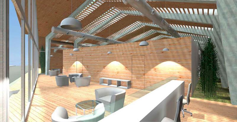 Gimnasio en Lugo, hall - Colaboración con Jordi Marcé Arquitectes