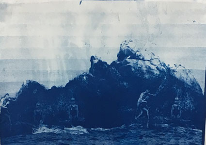 Emelien Dieleman, zonder titel, 2017, 15 x 21 cm, Cyanotype op papier
