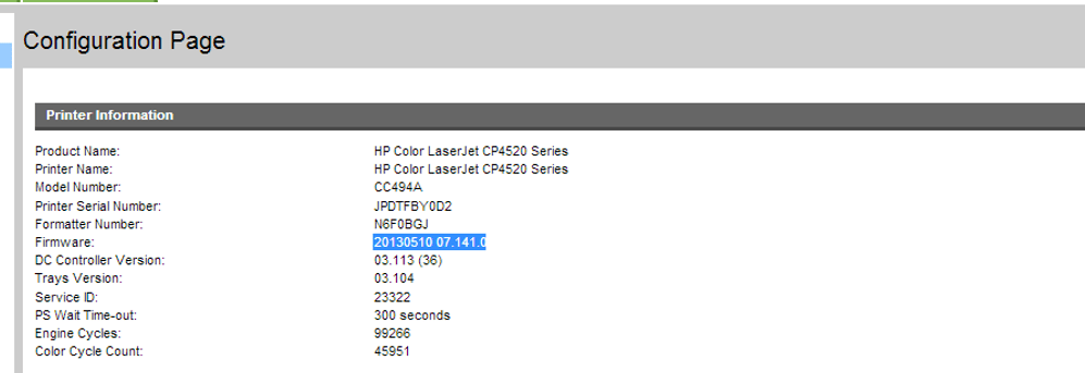 Hp color laserjet cp4025 firmware
