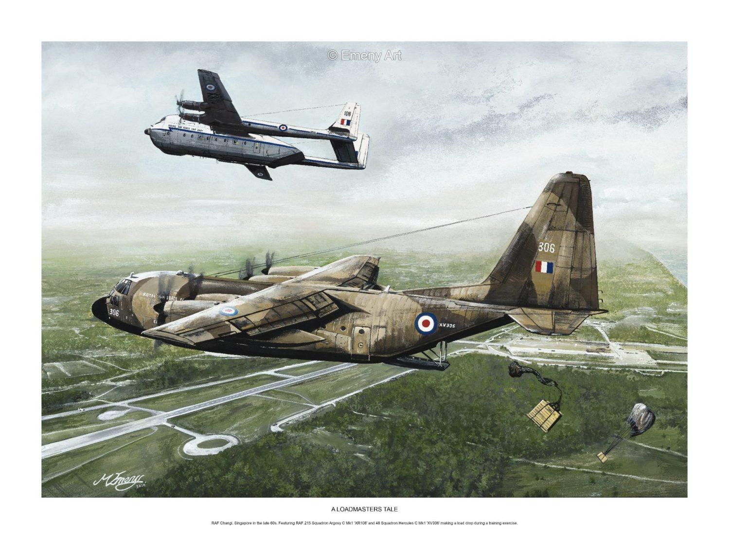 Aviation art prints featuring RAF 215 Squadron Argosy C Mk1 'XR108' and 48 Squadron Hercules C Mk1 'XV306'