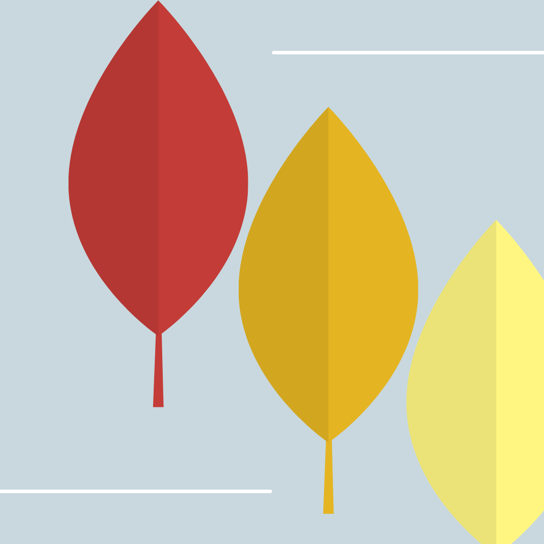 Image shows 3 x leaves in red, orange and yellow.