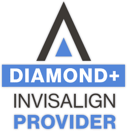"""Diamond Invisalign Provider"" text, distinction of Fishbein Orthodontics"