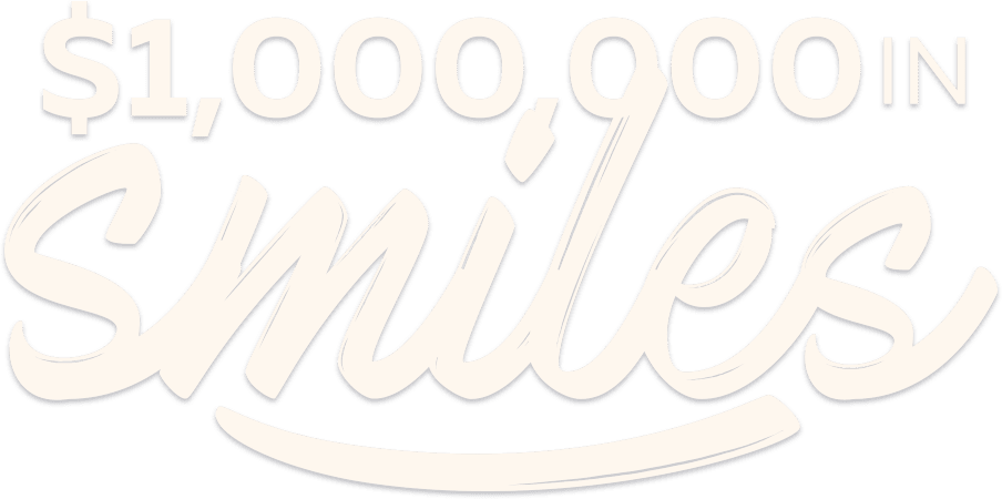 """$1,000,000 in Smiles"" wording over Fishbein Orthodontics logo in white letters, grey background"
