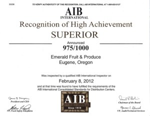 AIB 2012 Certification