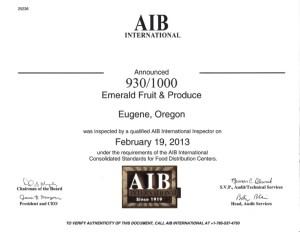 AIB 2013 Certification
