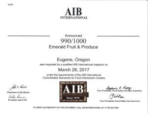 AIB 2017 Certification