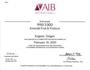 AIB 2020 Certification