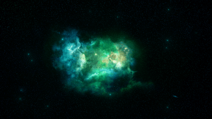 Green and blue nebula inside of black space with stars.